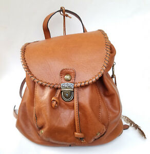 PATRICIA NASH Casape Feather Italian Leather Women's Backpack (Caramel  Brown)