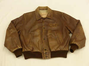 Redskins Vintage Casual Leather Jacket Light Brown University Champs SIZE:M Tip