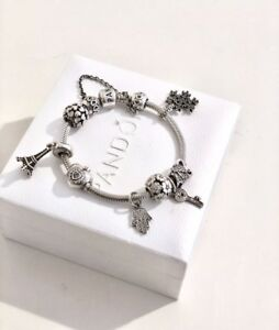 pandora original bracelet Sterling Silver 925 With Beautiful 9 Charms