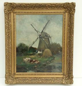 Antique Oil Painting Holland um 1900 Windmill with Cows Impressionism Art