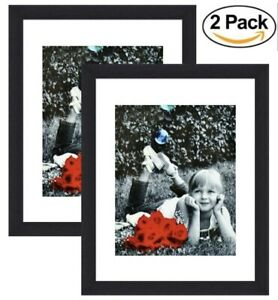 2 pack 11x14 Inch Picture Frame Black GLASS FRONT Displays 8x10 w Mat