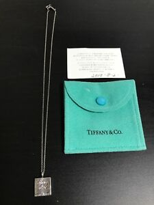TIFFANY & CO Notes Silver Sterling Square Tag Pendant 18