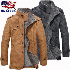 Mens Winter Leather Jacket Coat Warm Stand Collar Breasted Epaulet Design Lot