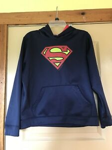 Boys Under Armour Storm Superman Navy Blue Hoodie Pullover Jacket Size YXL