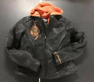 Harley Davidson Women's 3 in 1 Leather Jacket w Orange Hoodie Vest  XS RARE EUC