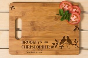 Personalized Cutting Board, Wedding Gift, Laser engraved,Love bird cutting board