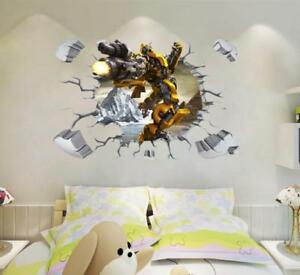 NEW 3D Transformers Yellow Bumblebee HUGE Wall Stickers Kids Home Decor $7.49