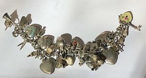 1940s Era Sterling Charm Bracelet 28 Charms Stanhope Camera Enamel Lock Key