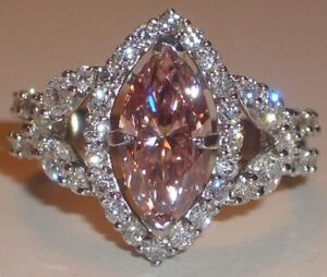 3Ct Pink Heart Sparkle Marquise Diamond Engagement Ring 14K White Gold Finish