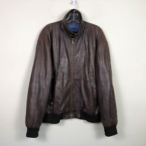 Falconnable Lambskin Leather Jacket Men's L Brown Wool Lined Bomber Jacket EUC