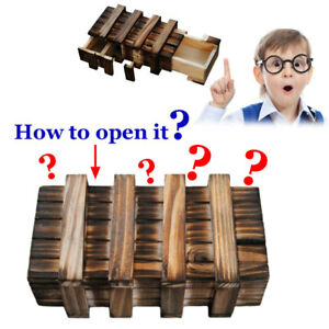 Wooden Compartment Puzzle Box With Secret Drawer Brain Teaser Developmental Toy