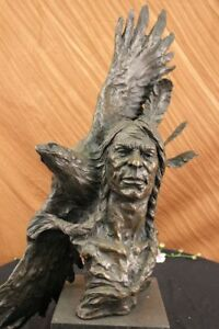 Native American Gift Indian Chief South western Bronze Bust Sculpture Statue art