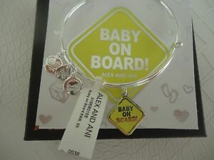 Alex and Ani BABY ON BOARD Bangle Bracelet Shiny Silver New W Tag Card amp; Box $32.49