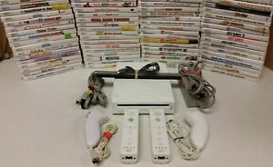 Nintendo Wii White Console - 2 sets controllers TESTED - GAMES - SHIPS SAME DAY