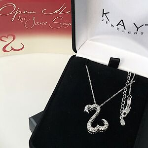 Jane Seymour Open Heart 14K White Gold 14CT Diamond Necklace MRP $750 Kay J