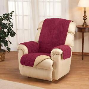 Recliner Chair Cover Protector Waterproof Backing Quilted Sherpa Universal Fit
