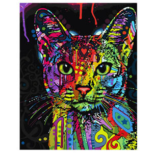 Frameless Huge Wall Art Oil Painting On Canvas Colorful Cat Animals Home Decor $7.89
