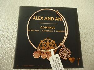 ALEX AND ANI COMPASS III Shiny Rose Gold Charm Bangle New W Tag Card amp; Box $23.50
