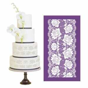 New Design Rose Mesh Stencils for Fondant Wedding Cake Lace Moulds Baking Tools