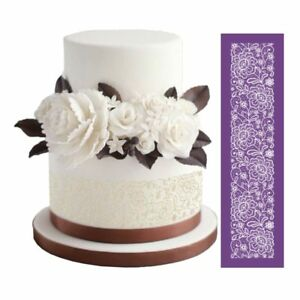 New Design Flowers Cake Mesh Stencils Lace Fondant Mat for Wedding Cake Pastry