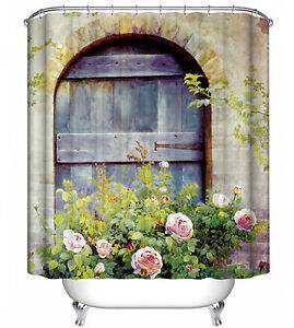 Country Door with Roses Shower Curtain Rustic Old Wood Barn Cottage Farm Flowers