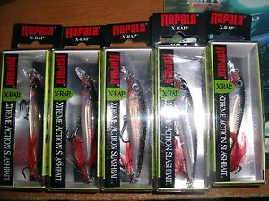 LOT OF 5 RAPALA X-RAP 8  XR-8 SILVER FISHING LURES