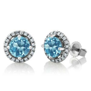 14K White Gold Diamond Halo Earrings set with 2.01 Ct Round Swiss Blue Topaz