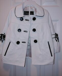 New White Leather Jacket with Black Trims and Buttons for Girls Size 2T-3T