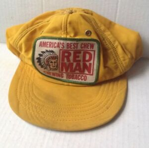 1f57a7f26a966 1970s 1980s RED MAN CHEWING TOBACCO TRUCKER BASEBALL CAP HAT YELLOW VINTAGE