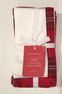 Williams Sonoma Red Tartan Plaid Border Hotel Napkins Set of 4 Holiday NEW w Tag