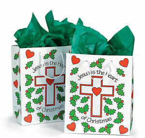 12 Jesus is the Heart of Christmas Gift Treat Bags Party Cross Poinsettia