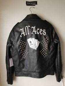 $368 GUESS Mens BLACK FAUX LEATHER ALL ACES ZIP UP MOTO motorcycle JACKET NEW L
