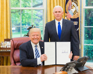 President Donald Trump With Mike Pence In Oval Office  8x10 Photo Print