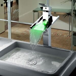 Bathroom Chrome LED Sink Mixer Waterfall Vanity Vessel Sinks Mixers Taps Faucets  $149.46