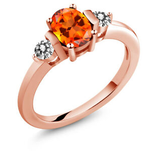 925 Rose Gold Plated Silver Diamond Ring Set with Poppy Topaz from Swarovski