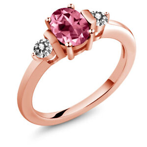 925 Rose Gold Plated Silver Diamond Ring Set with Pink Topaz from Swarovski