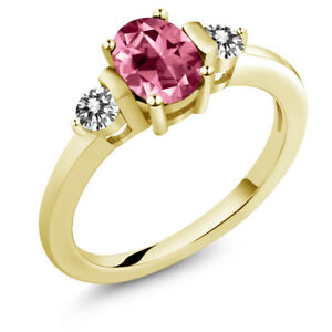 925 Yellow Gold Plated Silver Diamond Ring Set with Pink Topaz from Swarovski