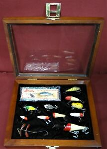 HeddonSouth BendPflueger & More Vintage Fishing Lures in Walnut Display Box