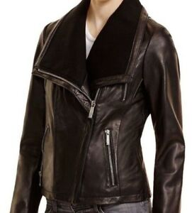 Michael Kors Bloomingdales Lambskin Black Moto Leather Jacket Plus sz 2X