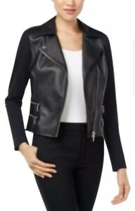 Michael Kors Black Faux Leather Moto Jacket Size XL