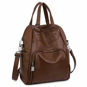 UTO Women Backpack Purse PU Washed Leather Convertible Ladies Rucksack Crossb...