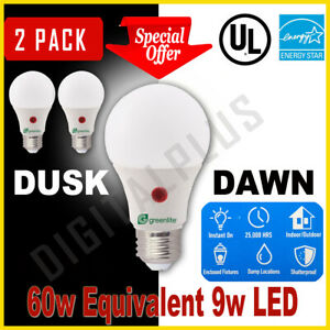 Dusk To Dawn LED 9w 60w Replacement Security Light Bulb Warm White 3000k A19 E26
