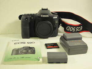 Canon 50D Digital SLR Body w IB Charger 2 Batteries 4GB C Crd Ex+ 9.3 of 10 Cond