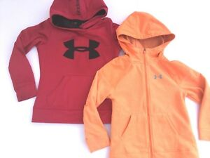 Under Armour Girls Youth Size XS Extra Small Hoodie Full Zip Sweatshirt Lot of 2