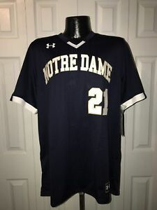 New Under Armour Men's L Notre Dame Irish Stock V-Neck Baseball Jersey Navy NWT