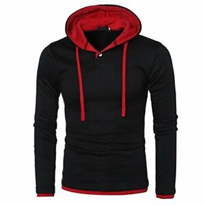 FUNIC Mens Shirt Long Sleeve Hoodie Warm Casual Outwear Sport Tops (M Red)