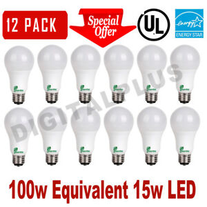 12 LED Light Bulbs GREENLITE 15W 100W Rep 1600L Warm White 3000K A19 DIMMABLE