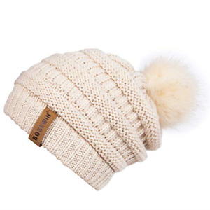Bosewin Women Slouchy Knit Beanie Chunky Baggy Hat with Faux Fur Pompom Winter