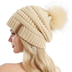 QUEENFUR Women Knit Slouchy Beanie Chunky Baggy Hat with Faux Fur Pompom Winter