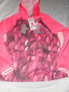 Girls Under Armour Pink Hoodie Breast Cancer Power In Pink  Size YLarge NWT